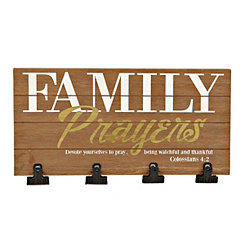 Family Prayers Wood Wall Plaque with Photo Clips