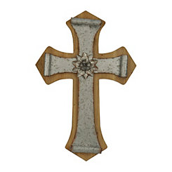 Wooden Galvanized Metal Cross