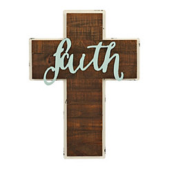Faith White Trim Wood Cross