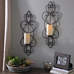 Camila Bronze Sconces with LED Candles, Set of 2