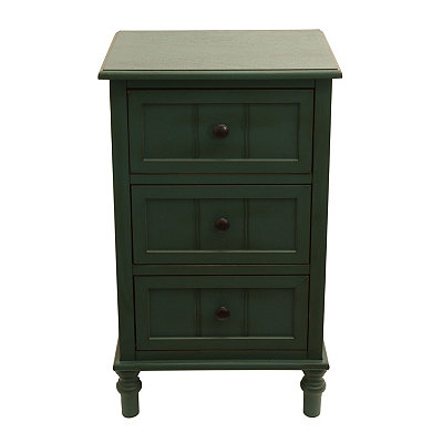 Antique Teal 3-Drawer Wooden Chest