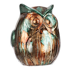 Blue and Brown Color Infusion Owl Figurine