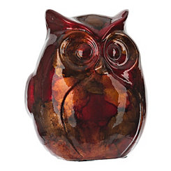 Red and Gold Color Infusion Owl Figurine