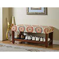 Medallion Slatted Wood Storage Bench