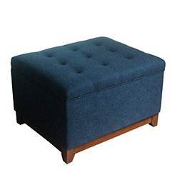 Navy Textured Cocktail Storage Bench