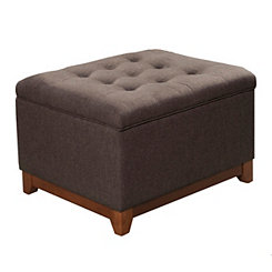 Brown Textured Cocktail Storage Bench