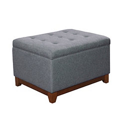 Gray Textured Cocktail Storage Bench