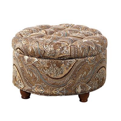 Paisley Tufted Round Storage Ottoman