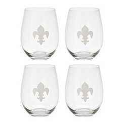 Satin Fleur-de-Lis Stemless Wine Glasses, Set of 4