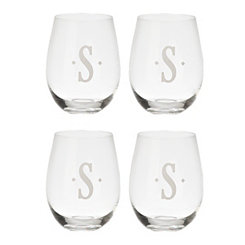 Satin Monogram S Stemless Wine Glasses, Set of 4