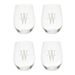 Satin Monogram W Stemless Wine Glasses, Set of 4