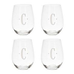 Satin Monogram C Stemless Wine Glasses, Set of 4