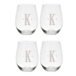 Satin Monogram Stemless Wine Glasses, Sets of 4