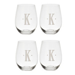 Satin Monogram K Stemless Wine Glasses, Set of 4