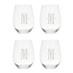 Satin Monogram M Stemless Wine Glasses, Set of 4