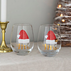 Mr. and Mrs. Santa Stemless Wine Glasses, Set of 2