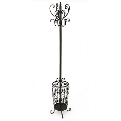 Dark Brown Floral Metal Coat Rack