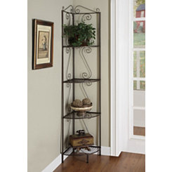 Copper Metal Corner Etagere Bookcase