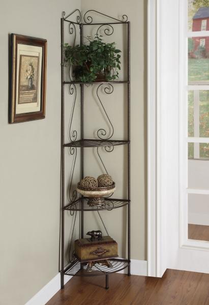 Copper Metal Corner Etagere Bookcase