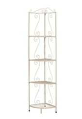 White Metal Corner Etagere Bookcase, 70 in.