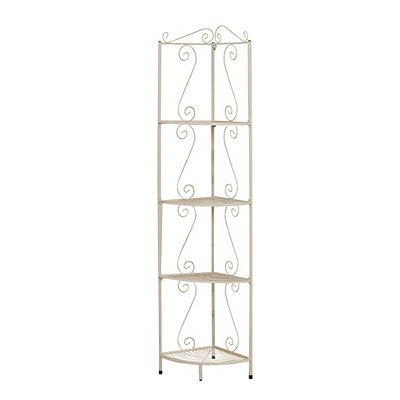 White Metal Corner Etagere Bookcase, 70 in.