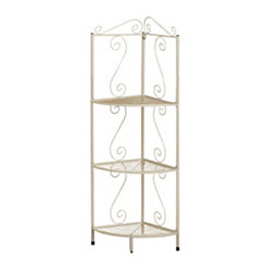 White Metal Corner Etagere Bookcase, 48 in.