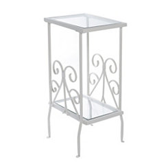 White Scroll Metal and Glass Accent Table