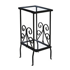 Black Scroll Metal and Glass Accent Table