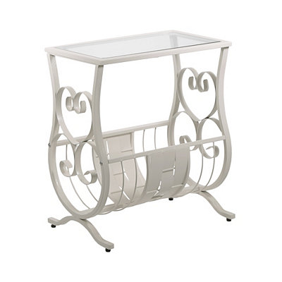 Antique White Metal and Glass Curls Accent Table
