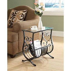 Satin Black Metal and Glass Curls Accent Table