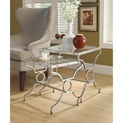 Silver Square Studded Nesting Tables, Set of 2