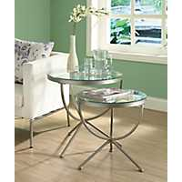 Silver Round Nesting Tables, Set of 2
