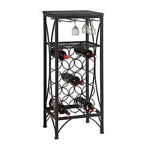 Black Metal Wine Bottle and Glass Rack