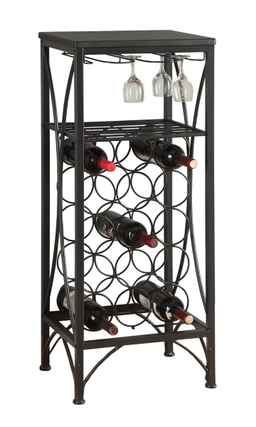 black metal wine bottle and glass rack