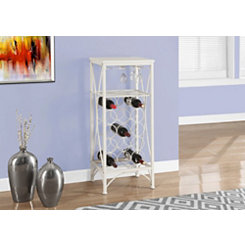 White Metal Wine Bottle and Glass Rack