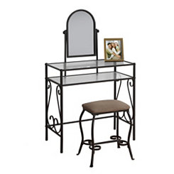 Dark Brown Metal and Glass Vanity Set