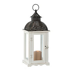 White Pierced Top Wood and Metal Lantern