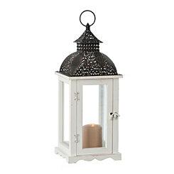 White Pierced Top Wood and Metal Lantern