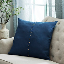 Paulie Navy Button Pillow