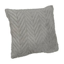 Gray Herringbone Faux Fur Pillow