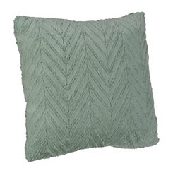 Blue Herringbone Faux Fur Pillow