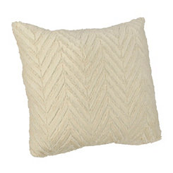 Elissa White Chevron Faux Fur Pillow
