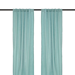 Aqua Cotton Slub Curtain Panel Set, 84 in.