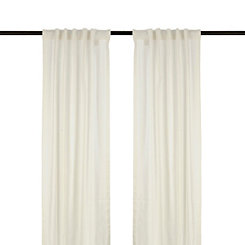 Ivory Cotton Slub Curtain Panel Set, 84 in.