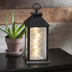 Pre-Lit Bronze and Brushed Gold Tabletop Lantern