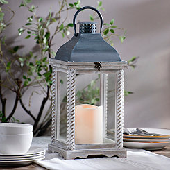 Layla White Rope Pillar Lantern