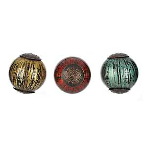 Color Streak Glass Orbs, Set of 3