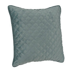 Aqua Velvet Quilted Pillow