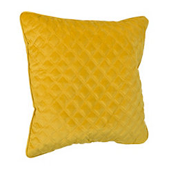 Yellow Velvet Quilted Pillow