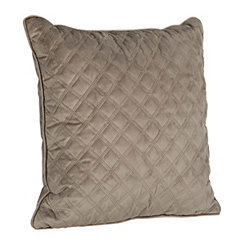 Stone Gray Velvet Quilted Pillow